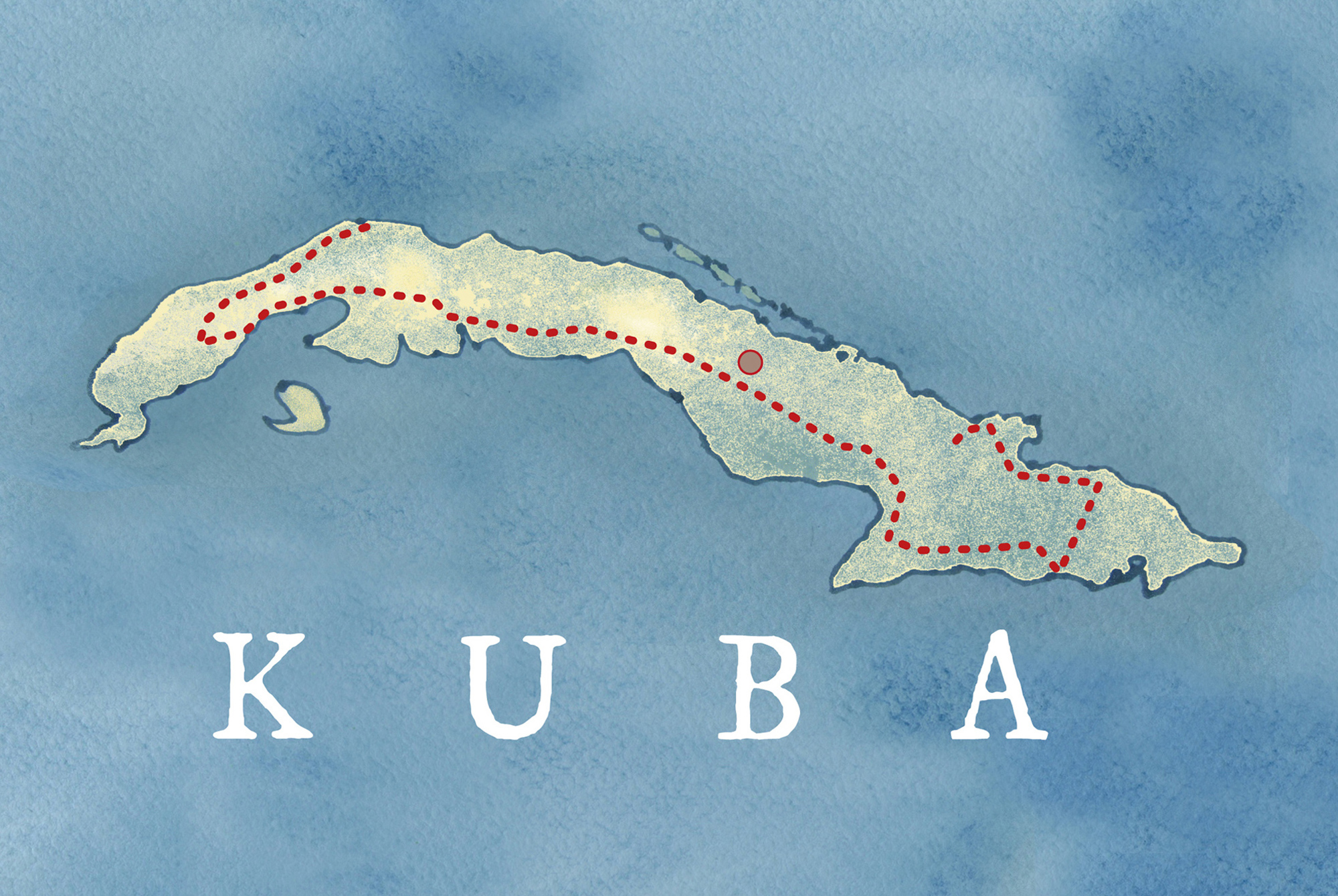 Landkarte mit eingezeichneter Reiseroute